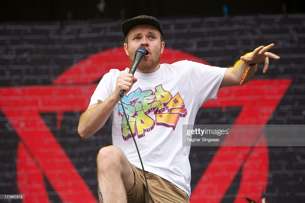 Rou Reynolds of Enter Shikari performs on stage on Day 4 of Rock The Beach Festival on June 29, 2013 in Helsinki, Finland.