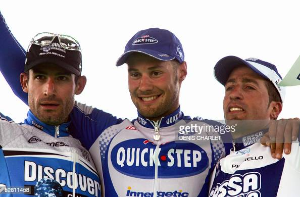 Belgian Tom Boonen first George Hincapie second and Spanish Juan Antonio Flecha third pose on the podium of the 103rd ParisRoubaix cycling race 10...