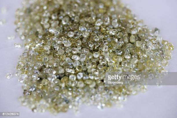Rough diamonds sit on a sorting table at the Namibian Diamond Trading Co diamond processing and valuation center a joint venture between De Beers...