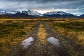 Rough road perspective in yellow field with snow mountain background in cloudy day autumn season countryside Iceland
