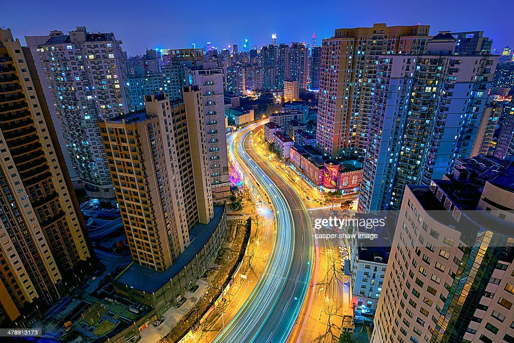 Rough roads in shanghai : Stock Photo