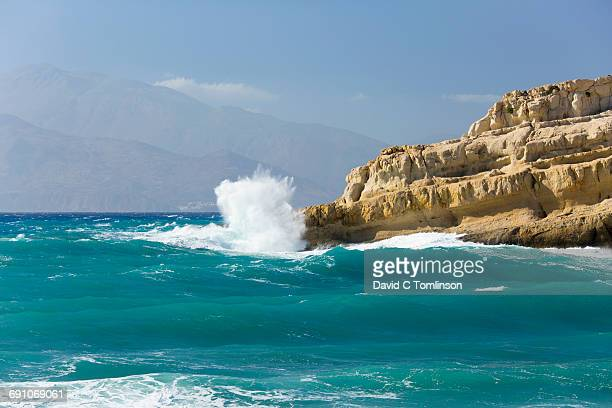 Rough sea battering headland, Matala, Crete