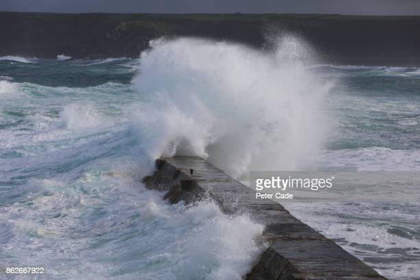 Rough sea hitting jetty