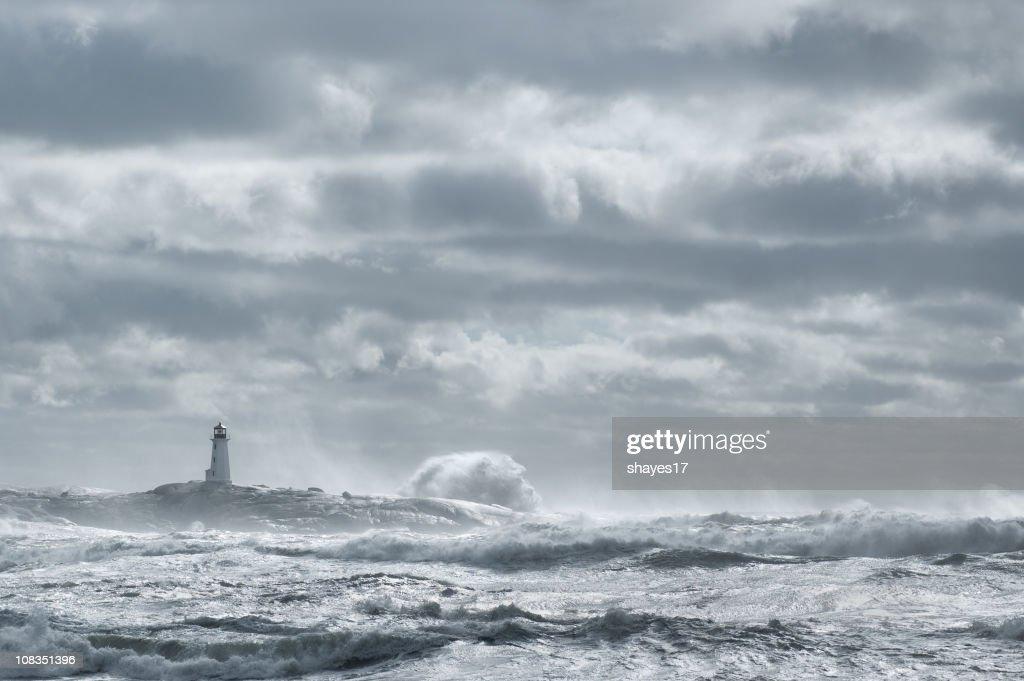 Rough sea lighthouse : Stock Photo