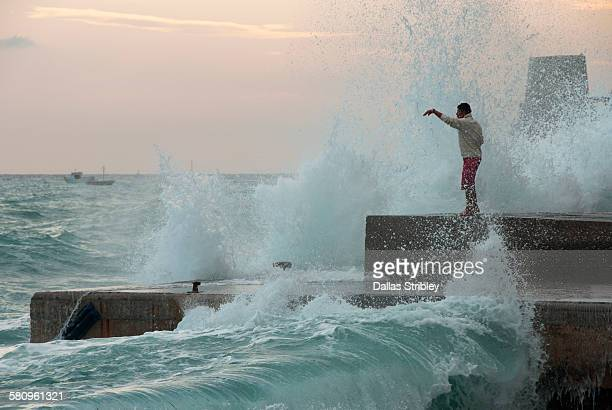 Rough sea pounds the foreshore in Positano