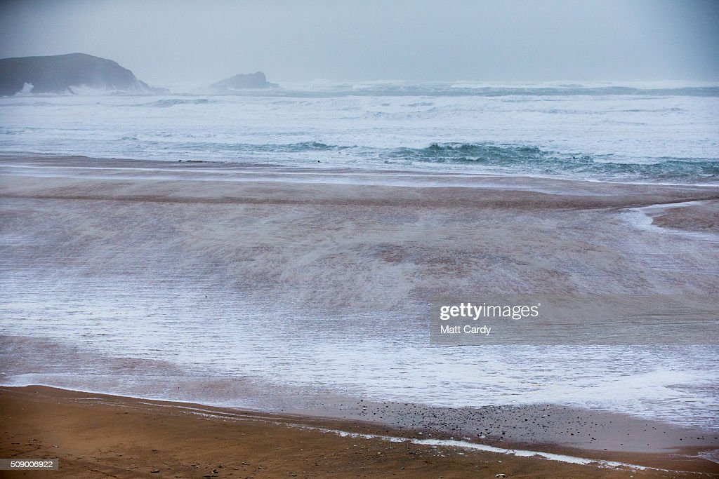 Rough seas are seen at Fistral Beach in Newquay on February 8, 2016 in Newquay, England. Parts of the UK are currently being battered by Storm Imogen, the ninth named storm to hit the UK this season. Thousands of homes have been left without power and commuters hit by road and rail chaos as Storm Imogen batters the South with gale force winds and torrential rain.