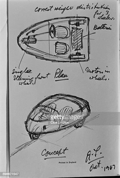A rough sketch by British car designer Alec Issigonis on back of a menu of the new BMC threewheeler electric car UK 23rd October 1967