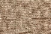 Rough texture of burlap, textile background closeup. Sackcloth canvas.