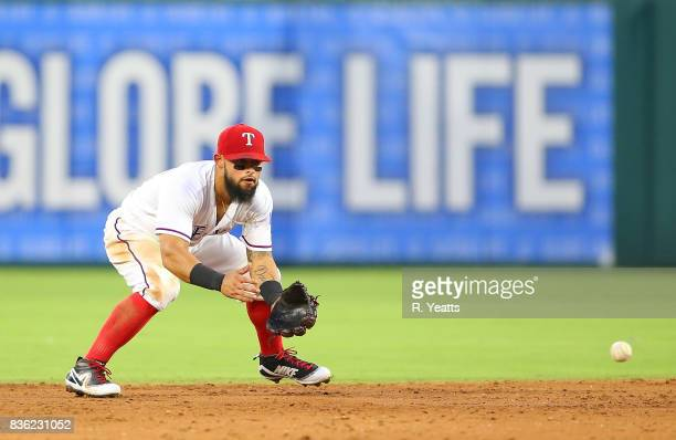 Rougned Odor of the Texas Rangers fields a ground ball in the third inning against the Chicago White Sox at Globe Life Park in Arlington on August 19...