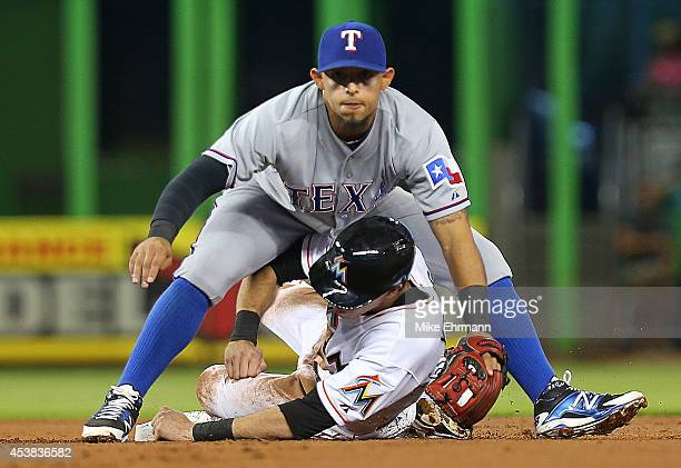 Rougned Odor of the Texas Rangers forces out Christian Yelich of the Miami Marlins during a game at Marlins Park on August 19 2014 in Miami Florida
