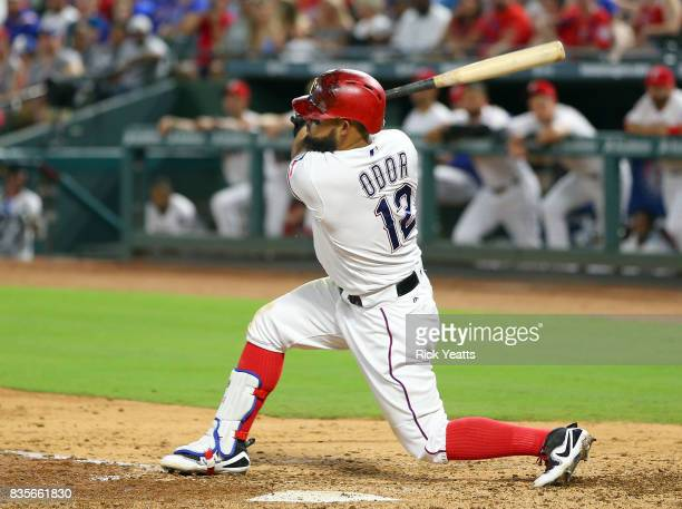 Rougned Odor of the Texas Rangers hits a three run home run in the third inning against the Chicago White Sox at Globe Life Park in Arlington on...