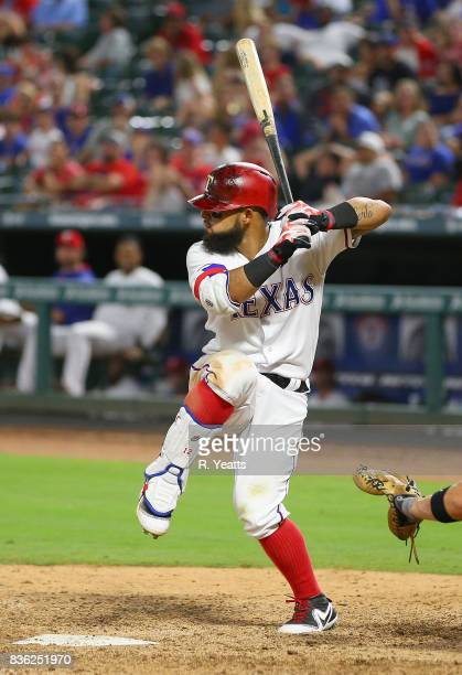 Rougned Odor of the Texas Rangers hits in the seventh inning against the Chicago White Sox at Globe Life Park in Arlington on August 19 2017 in...