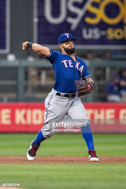 Rougned Odor of the Texas Rangers throws against the Minnesota Twins on August 5 2017 at Target Field in Minneapolis Minnesota The Rangers defeated...