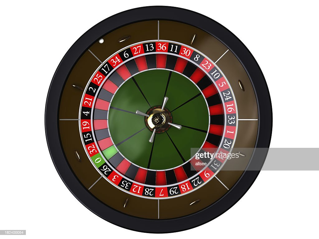 'Roulette on white, top of view'
