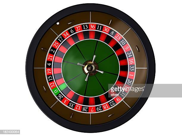 Roulette auf weiß, top of view