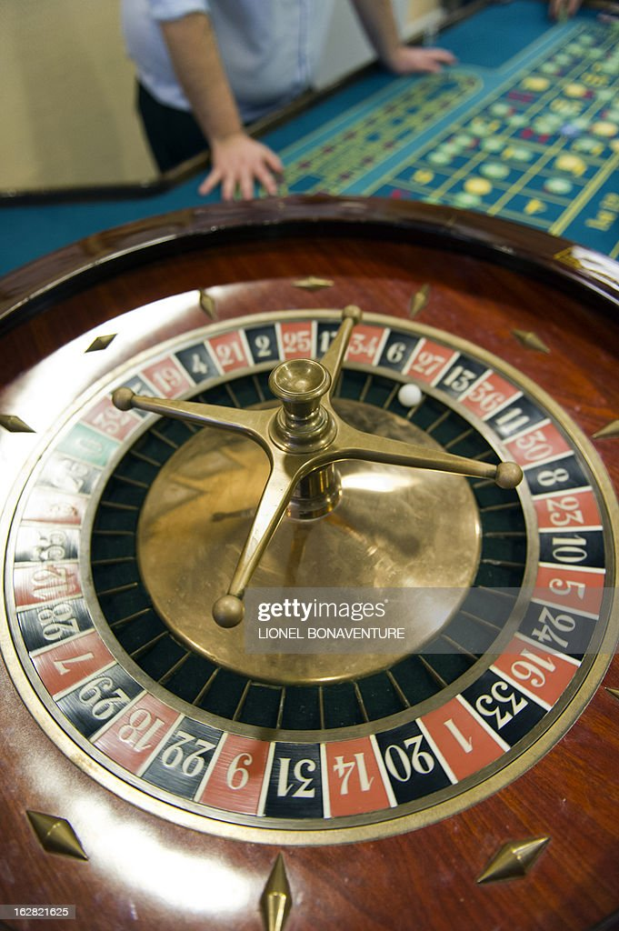 A roulette table is pictured in the Cerus Casino Academy, a school for croupiers in Paris, on February 27, 2013.