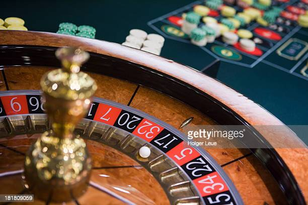 Roulette wheel and table in casino
