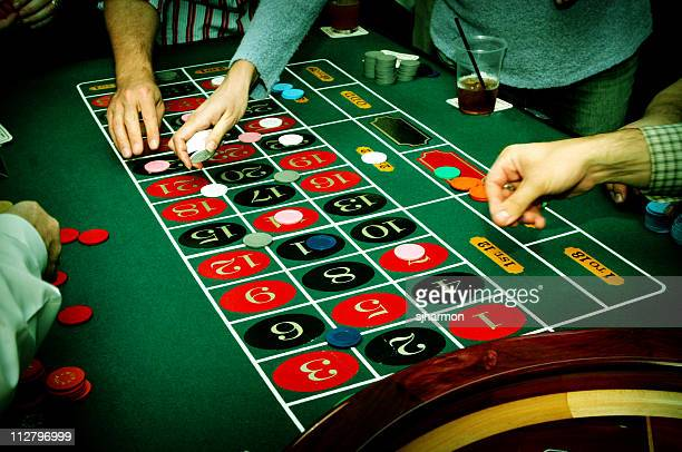 Roulette wheel at casino table
