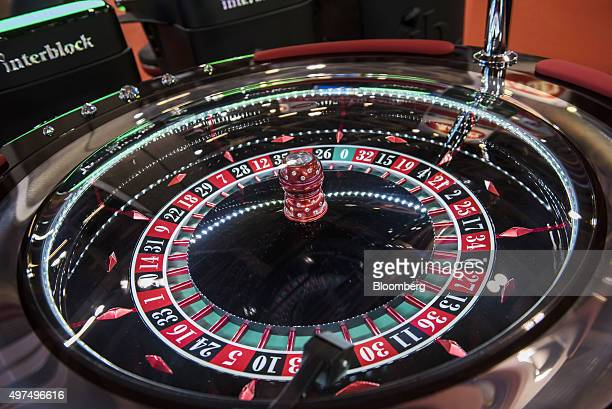 A roulette wheel stands at the Macao Gaming Show in Macau China on Tuesday Nov 17 2015 The show runs until Nov 19 Photographer Xaume...