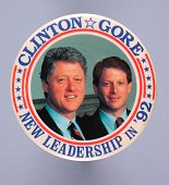 A round 1992 United States presidential campaign button pin for democratic candidates Bill Clinton and Al Gore