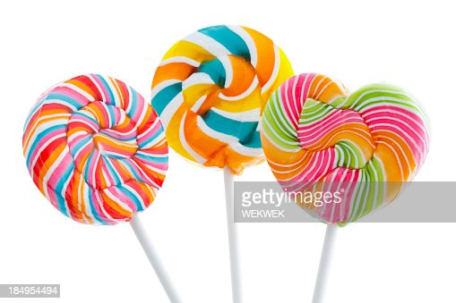 Round and heart shaped large lollipops
