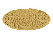Round carpet of a rope on a white background