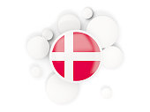 Round flag of denmark with circles pattern isolated on white. 3D illustration