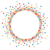 Round frame made from many painted colorful dots