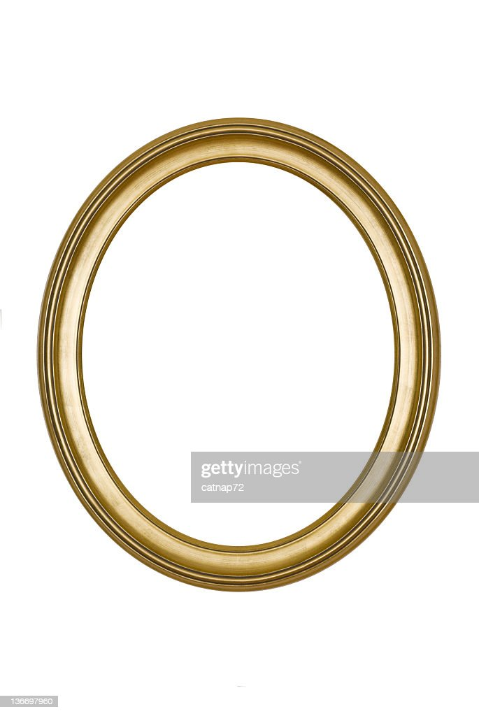 A round, gold picture frame isolated on white