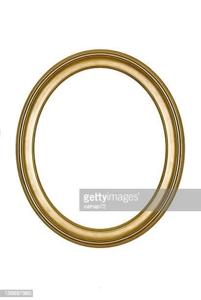 Cornice ovale oro rotondo, bianco isolato Fotografia da Studio