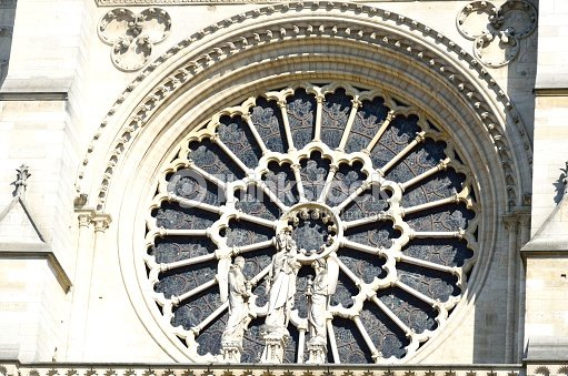 Round Gothic Window Notre Dame Stock Photo