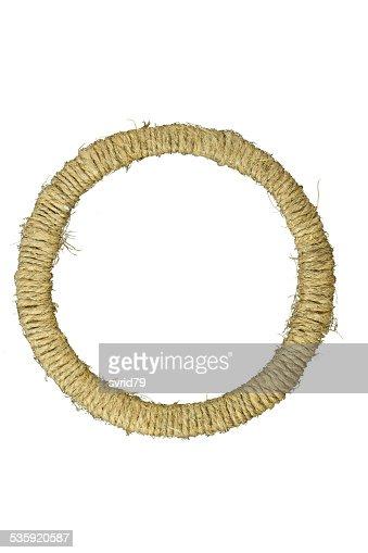 Round photo frame braided jute yarn. : Stock Photo