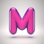 Round pink glossy font 3d rendering letter M