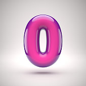 Round pink glossy font 3d rendering number 0