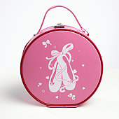 Round pink handbag, close up