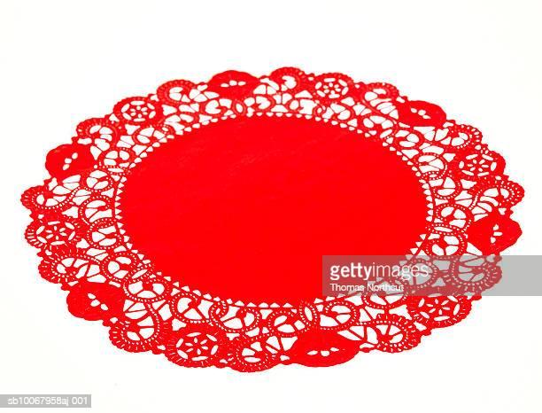 Round red doily