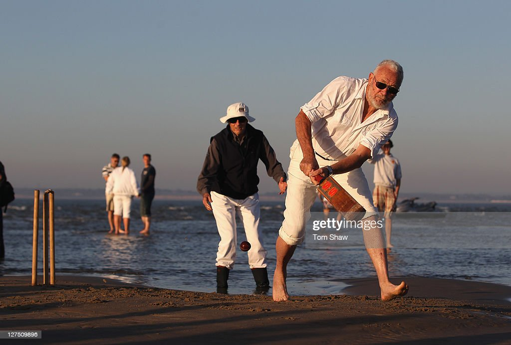 Round the world yachtsman Robin Knox-Johnston plays in the annual cricket match played between The Royal Southern Yacht Club from Hamble and the Island Sailing Club from the Isle of Wight on The Brambles Sandbank in The Solent on September 28, 2011 in Southampton, England.