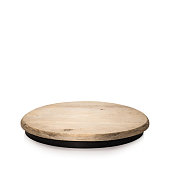 Round wooden display isolated on white background. Blank shelf for showing your product. ( Clipping paths )