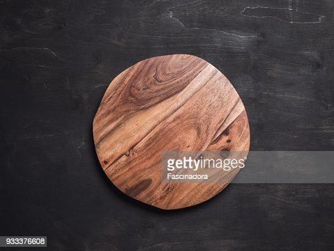 Round wooden tray : Stock Photo