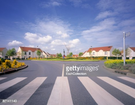 Roundabout in newly built residential neighborhood in suburban Paris.
