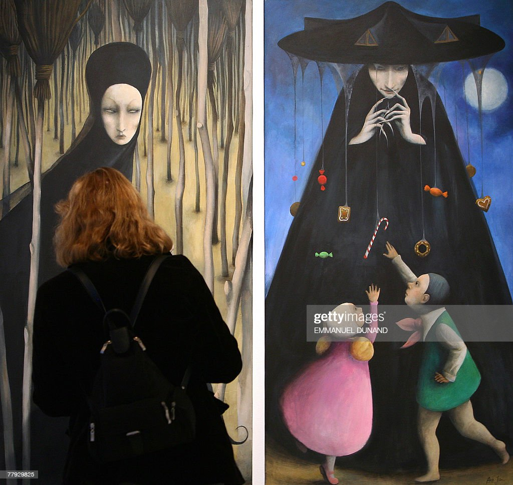 'Roundabout The Witch', a painting by artist Ana Juan is on display at an exhibition by New Yorker magazine artists inspired by the Grimm Brothers fairy tale 'Hansel and Gretel' at the Metropolitan Opera Gallery in New York, 15 November 2007. The exhibition 'Hansel and Gretel' was inspired by the Metropolitan Opera's holliday presentation of Engelbert Humperdinck 's operatic version of the Grimm fairy tale scheduled to open 24 December 2007. AFP PHOTO/Emmanuel DUNAND