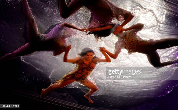 Roundhouse ambassador Sadie Frost performs with FUERZABRUTA at The Roundhouse on January 22 2014 in London England