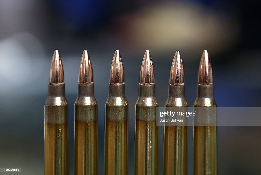 Rounds of 223 rifle ammuntion sits on the counter at Sportsmans Arms on April 2 2013 in Petaluma California In the wake of the Newtown Connecticut...