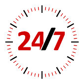 Round-the-clock on white background represents 24/7 service, three-dimensional rendering, 3D illustration