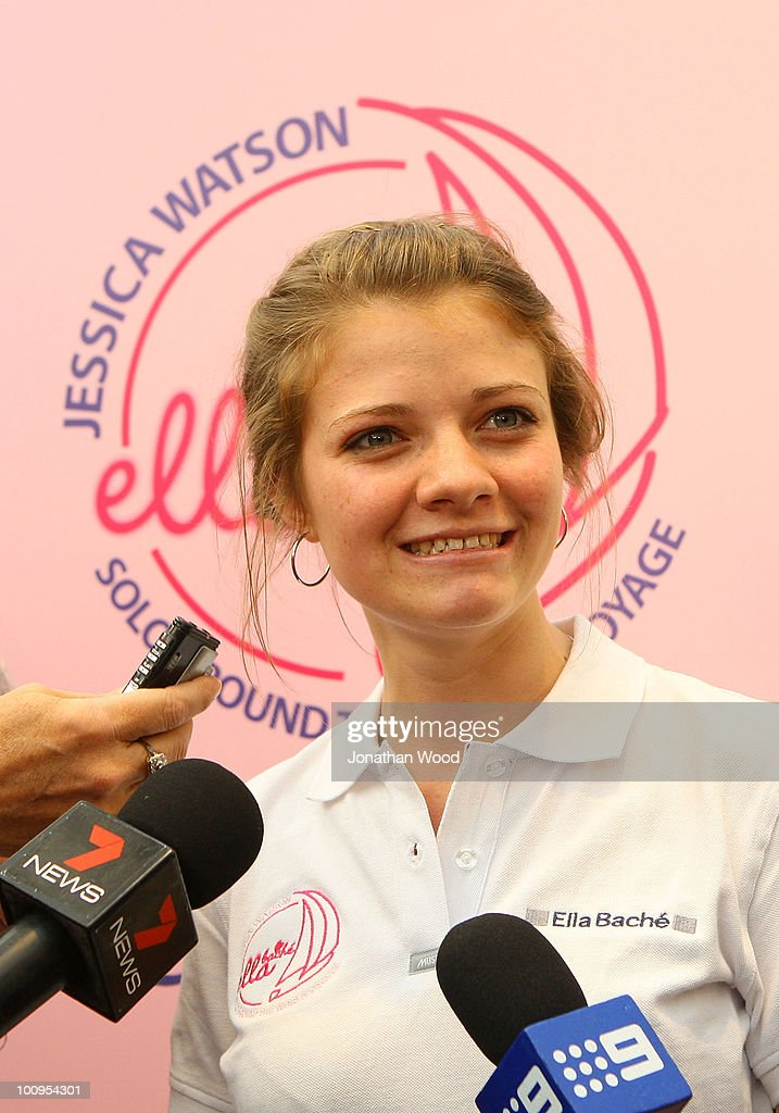 Round-the-world teen sailor Jessica Watson speaks with the media during a welcome home event at Queen Street Mall on May 26, 2010 in Brisbane, Australia. Watson, who turned 17 last week, returned to Australia to a hero's welcome on May 15 after sailing solo, non-stop and unassisted around the globe, completing the journey in 210 days.