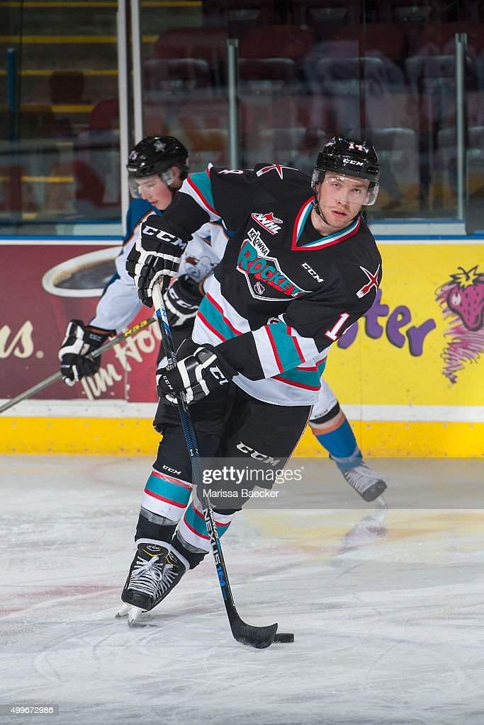 Rourke Chartier #14 of Kelowna Rockets warms up against the Kootenay Ice on December 2, 2015 at Prospera Place in Kelowna, British Columbia, Canada.
