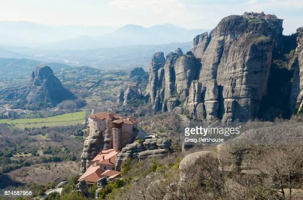 Roussanou Monastery amid huge rock pillars of Meteora.