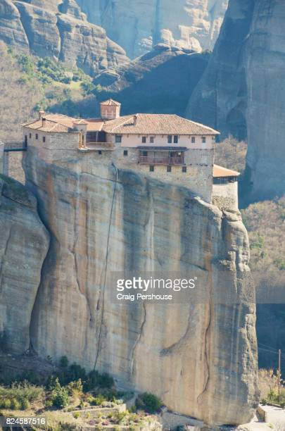 Roussanou Monastery atop huge rock pillar.