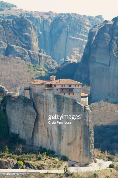 Roussanou Monastery before rock mountains of Meteora.