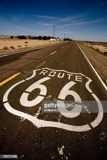 Route 66 Painted on Road in Desert
